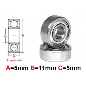 AT Stainless Steel Bearing MS 5X11X5mm Metal Seal (S685ZZ) (1pc)