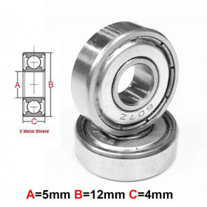 AT Stainless Steel Bearing MS 5X12X4 mm Metal Seal (SMR125ZZ) (1pc)
