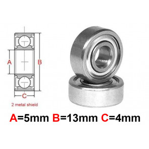 AT Stainless Steel Bearing MS 5x13x4mm Metal Seal (S695ZZ) (1pc)
