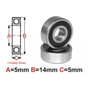 AT Bearing 5x14x5mm RS Ceramic Hybrid rubber sealed silicon nitr (1pc)
