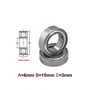 AT Stainless Steel Bearing MS 6x10x3mm Metal Seal (SMR106ZZ) (1pc)