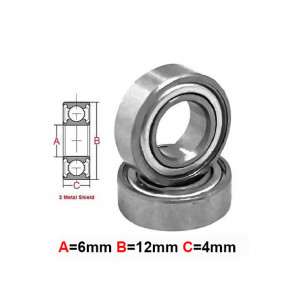 AT Stainless Steel Bearing MS 6x12x4mm Metal Seal (SMR126ZZ) (1pc)