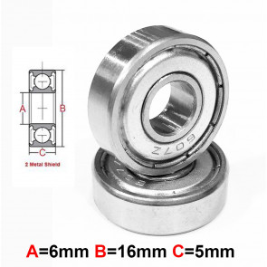 AT Stainless Steel Bearing MS 6x16x5mm Metal Seal (S696AZZ) (1pc)
