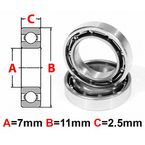 AT Stainless Steel Bearing OS 7x11x2.5mm Open (No Seal) (SMR117) (1pc)