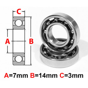 AT Stainless Steel Bearing OS 7x14x3.5mm Open (No Seal) (S687) (1pc)