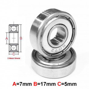 AT Stainless Steel Bearing MS 7x17x5mm Metal Seal (S697ZZ) (1pc)
