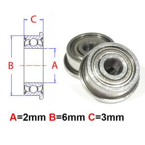 AT Flanged Bearing 2x6x3mm Metal Shields (F692ZZ) (1pc)