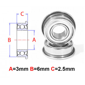 AT Flanged Bearings 3X6X2.5mm Metal Shield (mf63zz)