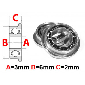 AT Flanged Bearing 3x6x2mm Open (MF63) (1pc)