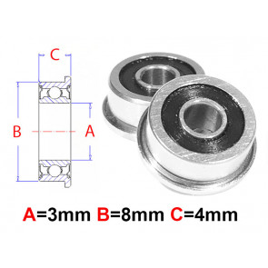 AT Flanged Bearing 3x8x4mm Rubber Seals (F693-2RS) (1pc)