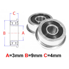 AT Flanged Bearing 3x9x4mm Rubber Seals (MF93-2RS) (1pc)