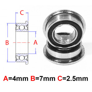 AT Flanged Bearing 4x7x2.5mm Rubber Seals (MF74-2RS) (1pc)