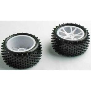 River Hobby 1/10 4wd Buggy Rear Wheel Set Block Tread (2pc) White 10303w