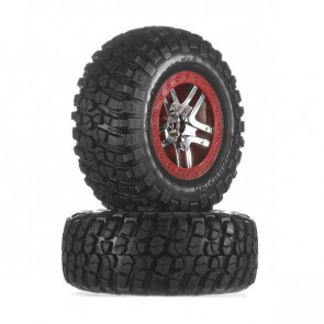 Traxxas Tire/Wheel Assembly Glued Slash 2WD Front (2) 5877r