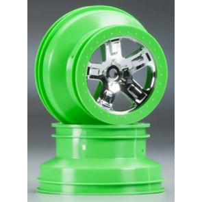 Traxxas Wheels SCT Chrome Green Beadlock 4WD Fr/Re (2pc) 6875
