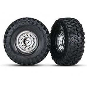 Traxxas TRX-4 1.9Inch Canyon Trail Crawler Tires/ With Chrome Rims (2pc) 8177