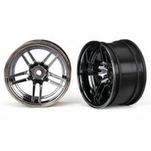 Traxxas 4-Tec 2.0 1.9inch X-Tra Wide Rear Split Spoke Rim 2pc Black Chrome 8372