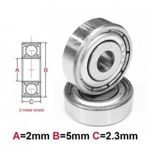 AT Bearing 2x5x2.3mm MS chrome steel Metal shielded (1pc)