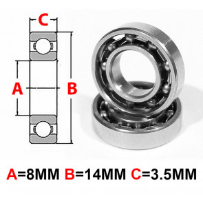 AT Stainless Steel Bearing OS 8X14X3.5mm Open (No Seal) (SMR148) (1pc)