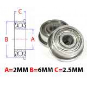 AT Flanged Bearing 2X6X2.5mm Metal Shields (MF62ZZ) (1pc)