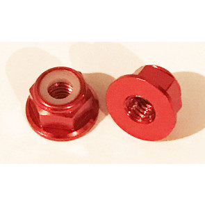 AT Alloy Flanged Lock Nut M2 Red 2mm (6pc)