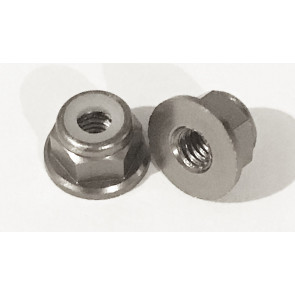 AT Alloy Flanged Lock Nut M3 Grey 3mm (6pc)