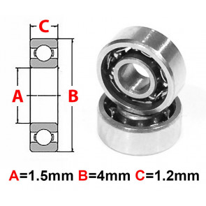 AT Stainless Steel Bearing OS 1.5x4x1.2mm Open (No Seal) (S681X) (1pc)