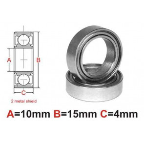 AT Bearing 10x15x4mm MS chrome steel metal shielded (6700zz) (1pc)