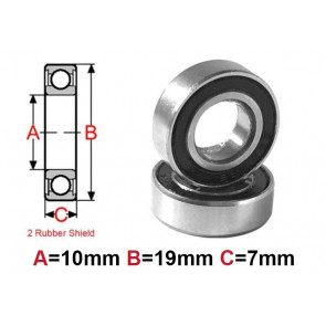 AT Bearing 10x19x7mm RS chrome steel rubber shielded (1pc)