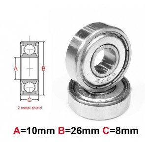 AT Bearing 10x26x8mm MS chrome steel Metal shielded (1pc)