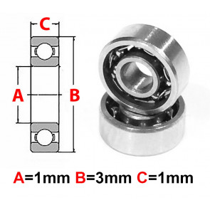 AT Stainless Steel Bearing OS 1x3x1mm Open (No Seal) (S681) (1pc)