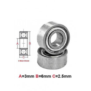 AT Bearing 3x6x2.5mm MS chrome steel Metal shielded (1pc)