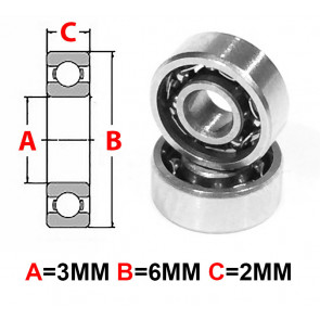 AT Stainless Steel Bearing OS 3X6X2mm Open (No Seal) (SMR63) (1pc)