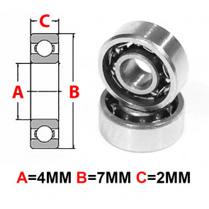 AT Stainless Steel Bearing OS 4X7X2mm Open (No Seal) (SMR74) (1pc)