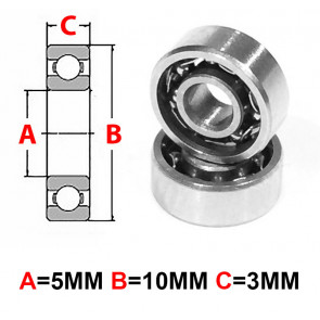 AT Stainless Steel Bearing OS 5X10X3mm Open (No Seal) (SMR105) (1pc)