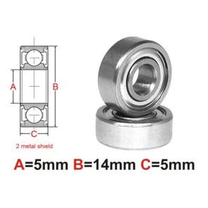 AT Bearing 5x14x5mm MS Ceramic Hybrid silicon nitride ball metal (1pc)