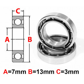 AT Stainless Steel Bearing OS 7x13x3mm Open (No Seal) (SMR137) (1pc)