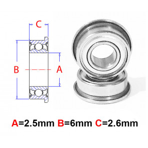 AT Flanged Bearing 2.5x6x2.6mm Metal Shields (F682XZZ) (1pc)