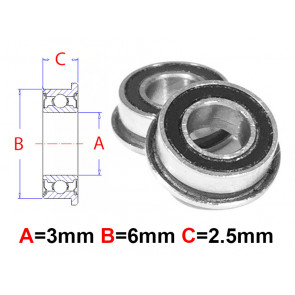 AT Flanged Bearing 3x6x2.5mm Rubber Seals (MF63-2RS) (1pc)