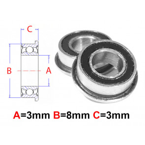 AT Flanged Bearing 3X8X3mm Rubber Seals (MF83-2RS) (1pc)