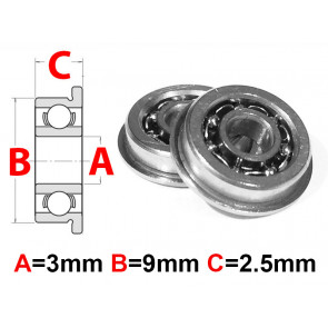 AT Flanged Bearing 3x9x2.5mm Open (MF93) (1pc)