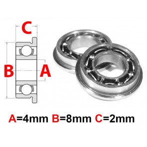 AT Flanged Bearing 4x8x2mm Open (MF84) (1pc)