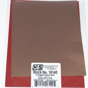 K&S HO Scale .003 Copper 5x7in Corrugated Sheet .030 Spacing (2pc) 16140