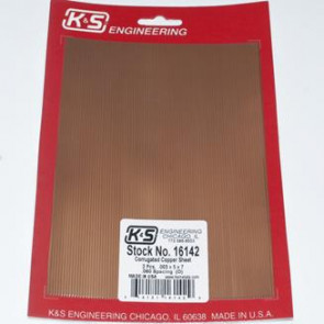 K&S HO Scale .003 Copper 5x7in Corrugated Sheet .060 Spacing (2pc) 16142