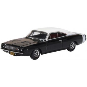 Oxford 1/87 Dodge Charger R/T 1968 Black/White 87Dc68003