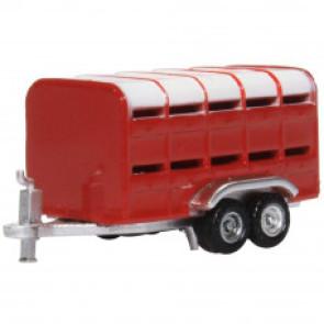 Oxford 1/148 N Livestock Trailer Red nfarm004