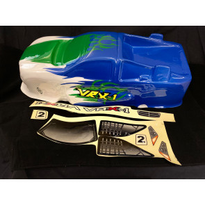 River Hobby 1/8 VRX-1 Truggy Painted Body Blue/Green And White r0025