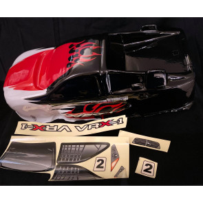 River Hobby 1/8 VRX-1 Truggy Painted Body Black/Red And White r0026