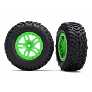 Traxxas Tyres & Wheels ASS, SCT Split-Spoke Off-Road Green (2) 5892g