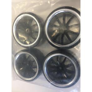 Vision 1/10 Drift 10-Soke Chrome Tyre/Wheels (4pc) kt637019s
